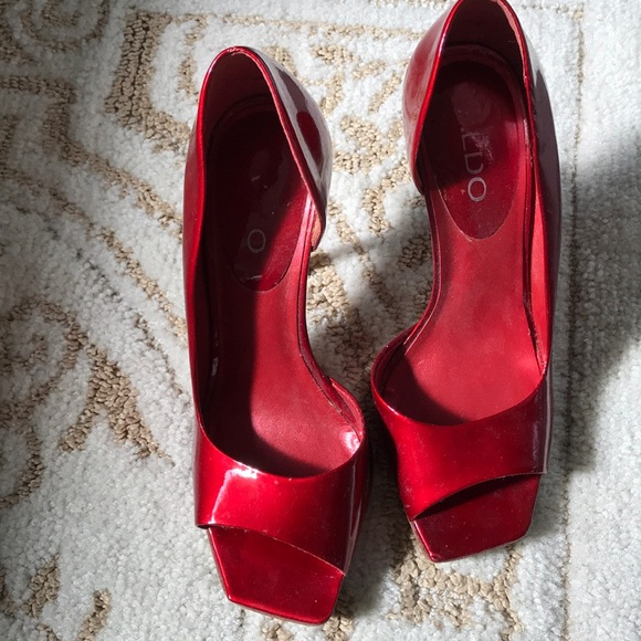 "e972d93efaac Aldo Shoes - Aldo red patent heels size 37 in 4"" heel height."